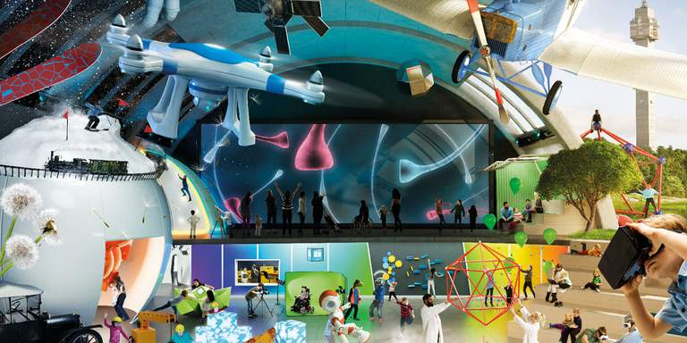 A collage, showing the ceiling in the large exhibit-hall at the National Museum of Science and Technology in Stockholm. An Astronaut, an airplane and several geometrical shapes hang next to each other. Visitors of all ages are milling about.