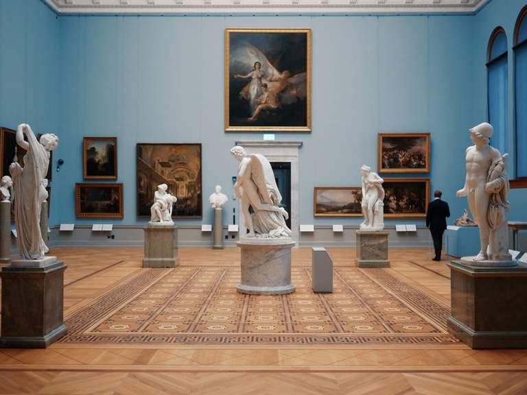 A beautiful art hall with sculptures