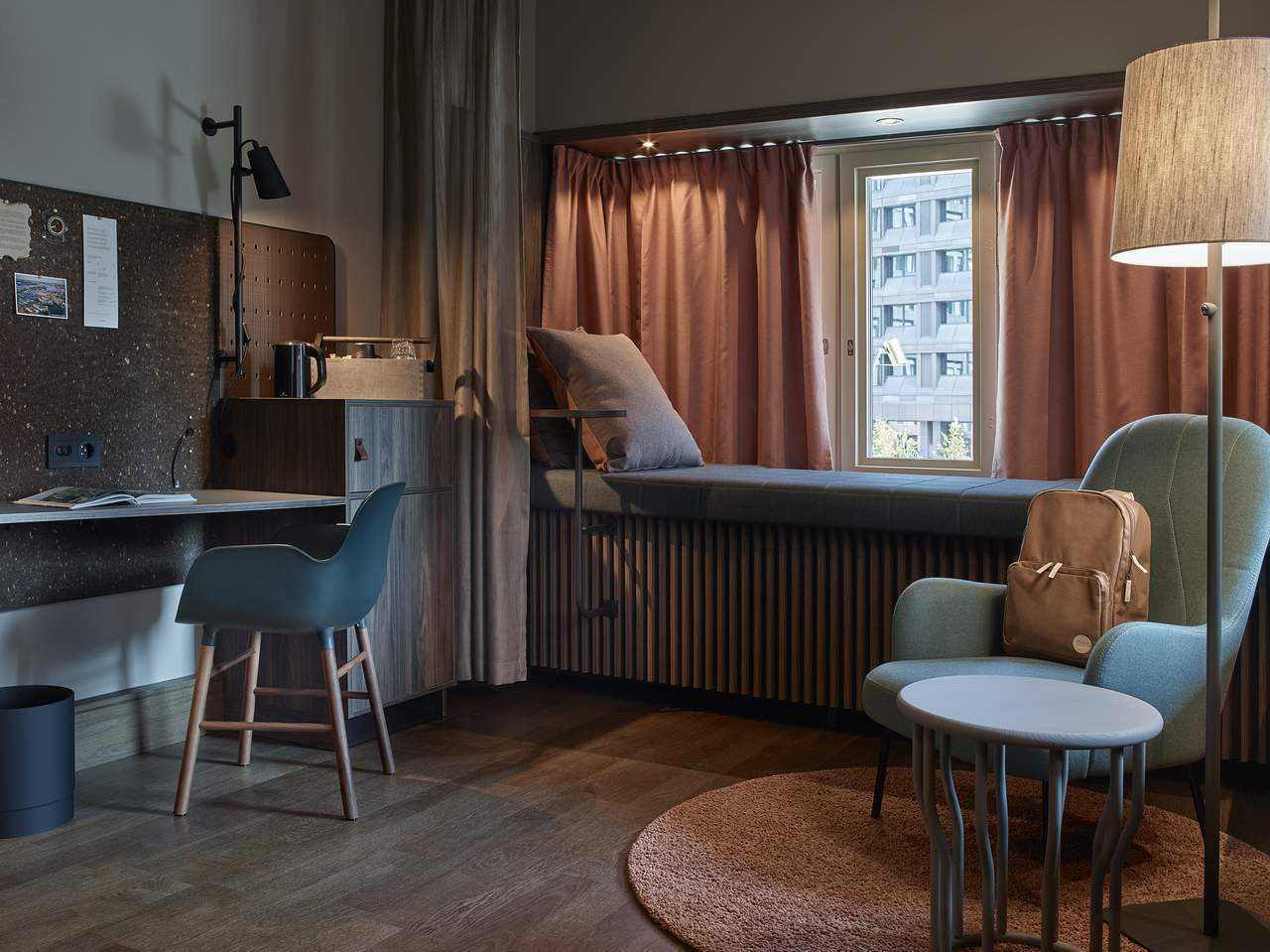 Hotels in Stockholm. A room at Downtown Camper in central Stockholm. Scandinavian design and natural, varm colors.