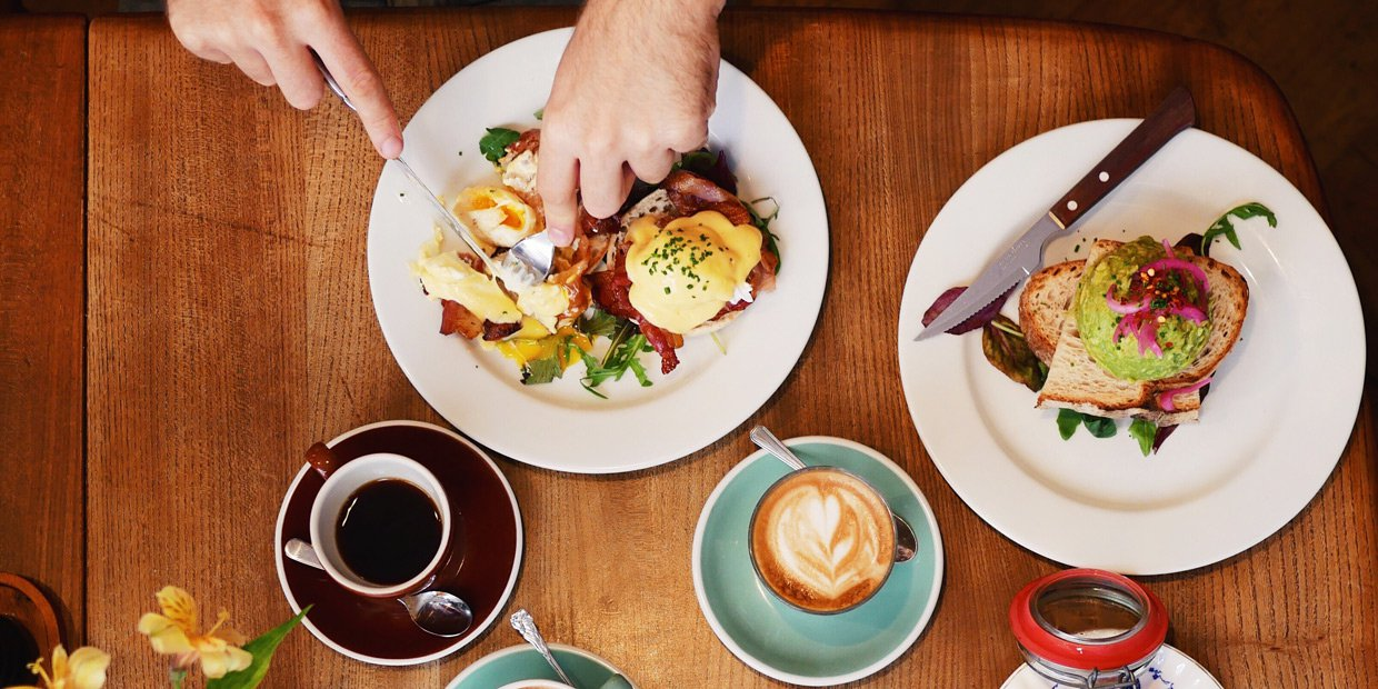 : A bird´s eye view over a couple of people sharing brunch, a black coffee and a latte together with an Eggs Benedict and Avocado toast is on the table.