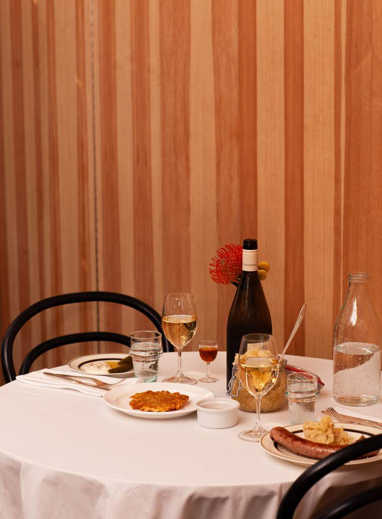 Restaurants in Stockholm. A table set for dinner at Liebling, a german bistro on Södermalm.
